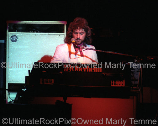 Photo of Dennis DeYoung of Styx playing keyboards in concert in 1977 by Marty Temme