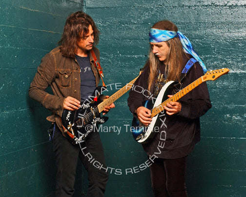 Photo of Warren DeMartini and Uli Jon Roth during a photo shoot by photographer Marty Temme