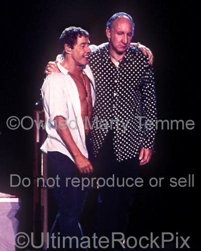 Photos of Pete Townshend and Roger Daltrey of The Who Standing Together Onstage in 2000 by Marty Temme