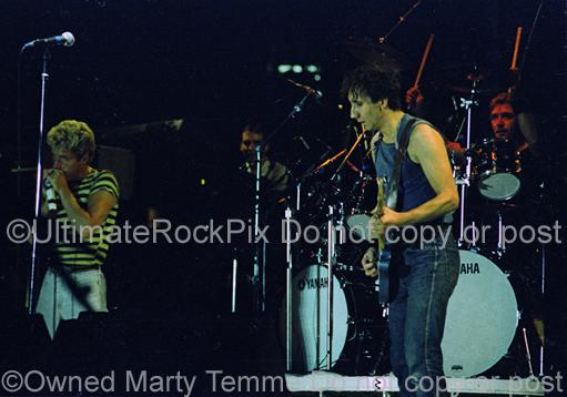 Photos of Pete Townshend, Roger Daltrey and Kenny Jones of The Who in Concert in 1982 by Marty Temme