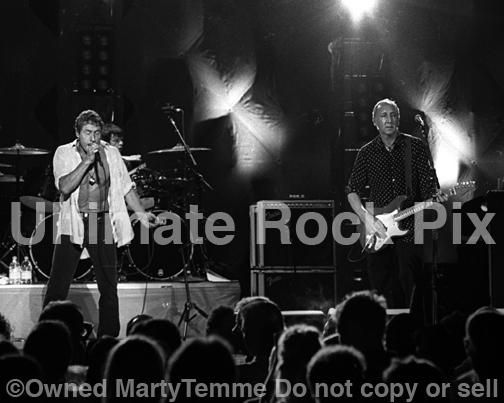 Photos of Pete Townshend and Roger Daltrey of The Who in Concert in 2000 by Marty Temme