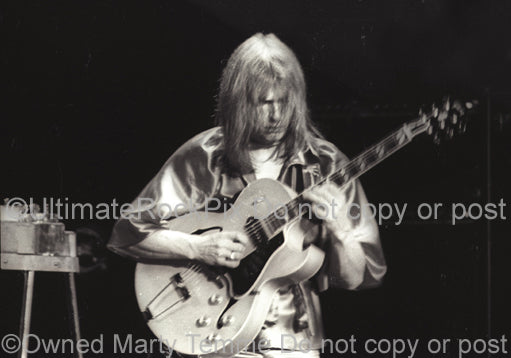 Photo of guitarist Steve Howe of Yes in concert in 1975 by Marty Temme