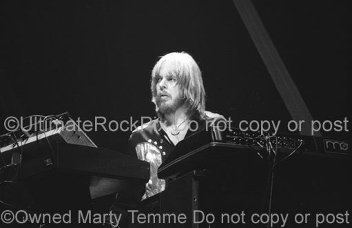 Photo of keyboardist Rick Wakeman of Yes in concert in the 1970's