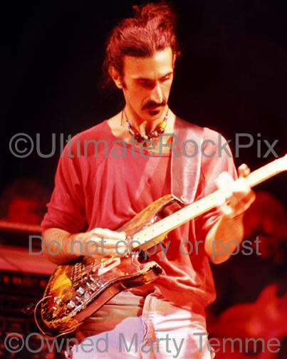 Photo of Frank Zappa playing a Stratocaster given to him by Jimi Hendrix in concert in 1978 by Marty Temme
