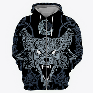 Viking Wolf All Over Print Hoodie
