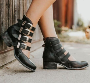 Women Ankle Boots Cut Out Shoes Chunky Mid Heels Booties