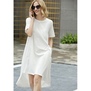 Minimalist  Office Lady Long Back Short Front Loose Dresses