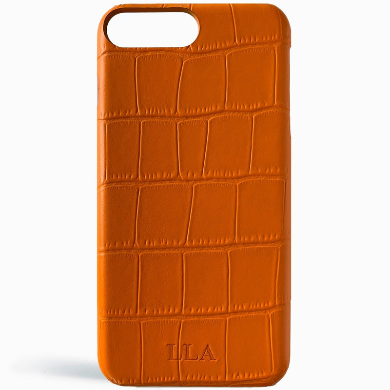 Orange Croc Leather iPhone Case