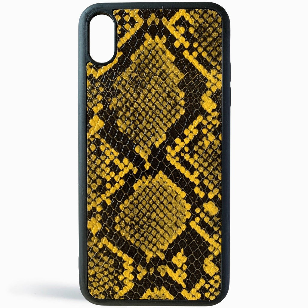 Yellow Python Embossed Leather iPhone Case