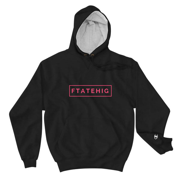 [ FTATEHIG X Champion ] Rectangle Logo Classic Hoodie - Black - FTATEHIG