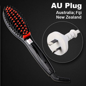 Hair Straightening Brush Black Au Plug