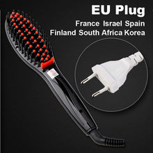 Hair Straightening Brush Black Eu Plug