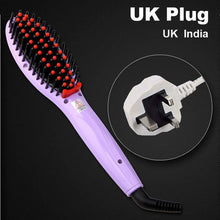 Hair Straightening Brush Violet Uk Plug