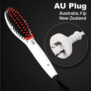 Hair Straightening Brush White Au Plug