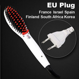 Hair Straightening Brush White Eu Plug