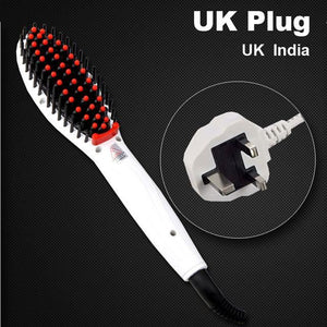 Hair Straightening Brush White Uk Plug