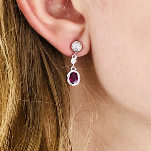 14 Karat Gold Ruby and Diamond Gold Drop Earrings