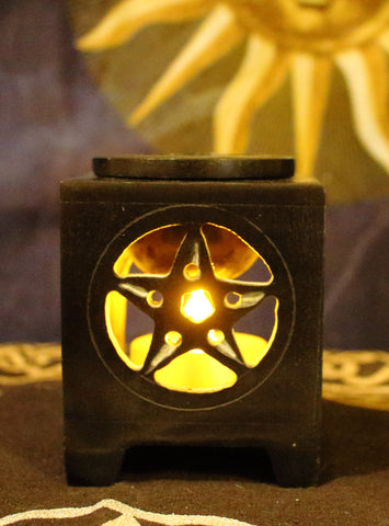 Soapstone Oil Burner - Pentacle Square
