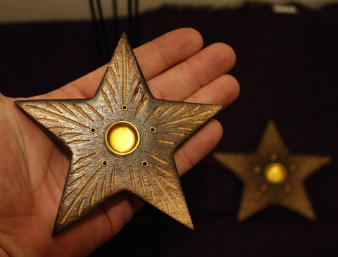 Mango Wood Burner, Star Incense Holder