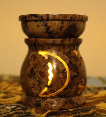 Soapstone Oil Burner - Moon & Stars