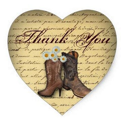 Image of 1.5inch Spring Cowboy Boots Western Country Wedding Heart Sticker - 500 pieces