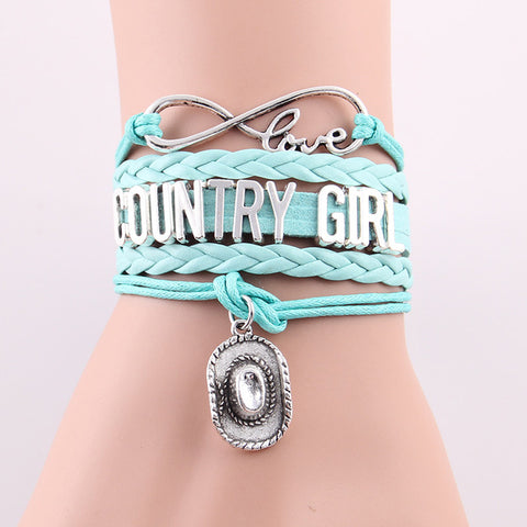 Infinity Country Girl Love Bracelet with Cowboy Hat Charm