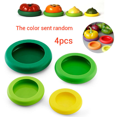 Silicone Fruit & Vegetable Food Covers - 4 Piece Set