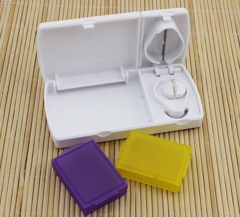 Pill Case with Dosage Splitter Combo