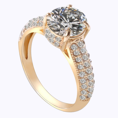 Gold or Silver-Plated Wedding, Engagement, or Cocktail Ring with Realistic Cubic Zirconia