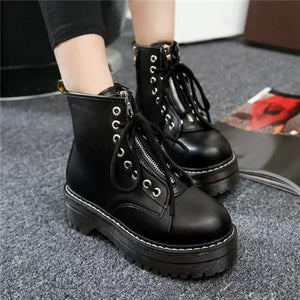 Biker Zipper Mid Platform Boots in 3 Colors