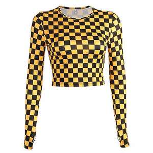 Checkerboard Long Sleeve Mesh Top