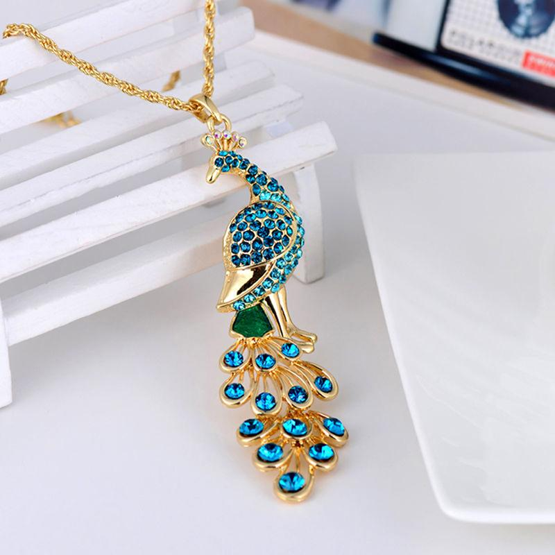 Necklace - Gold Peacock Pendant Necklace