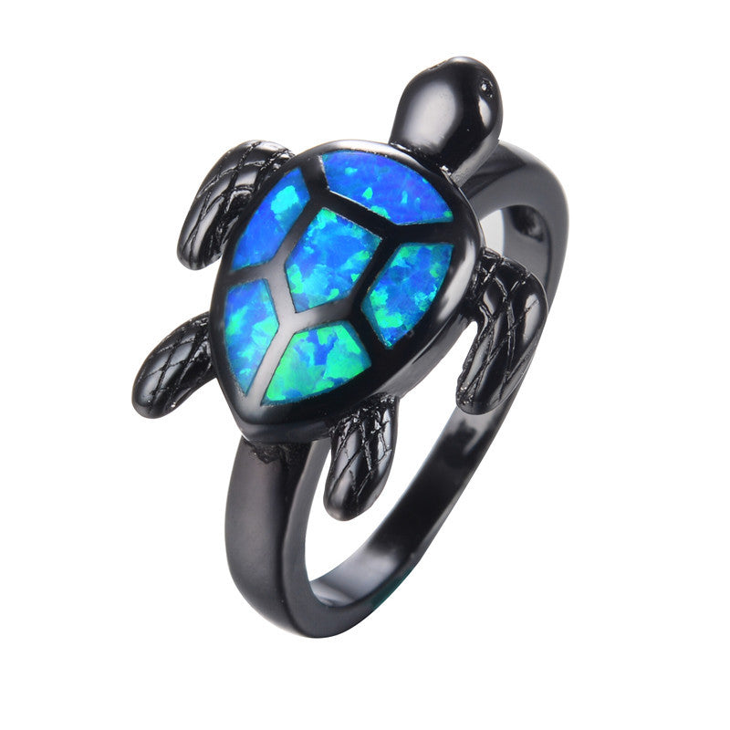 Earth Blue Turtle Fire Opal Ring