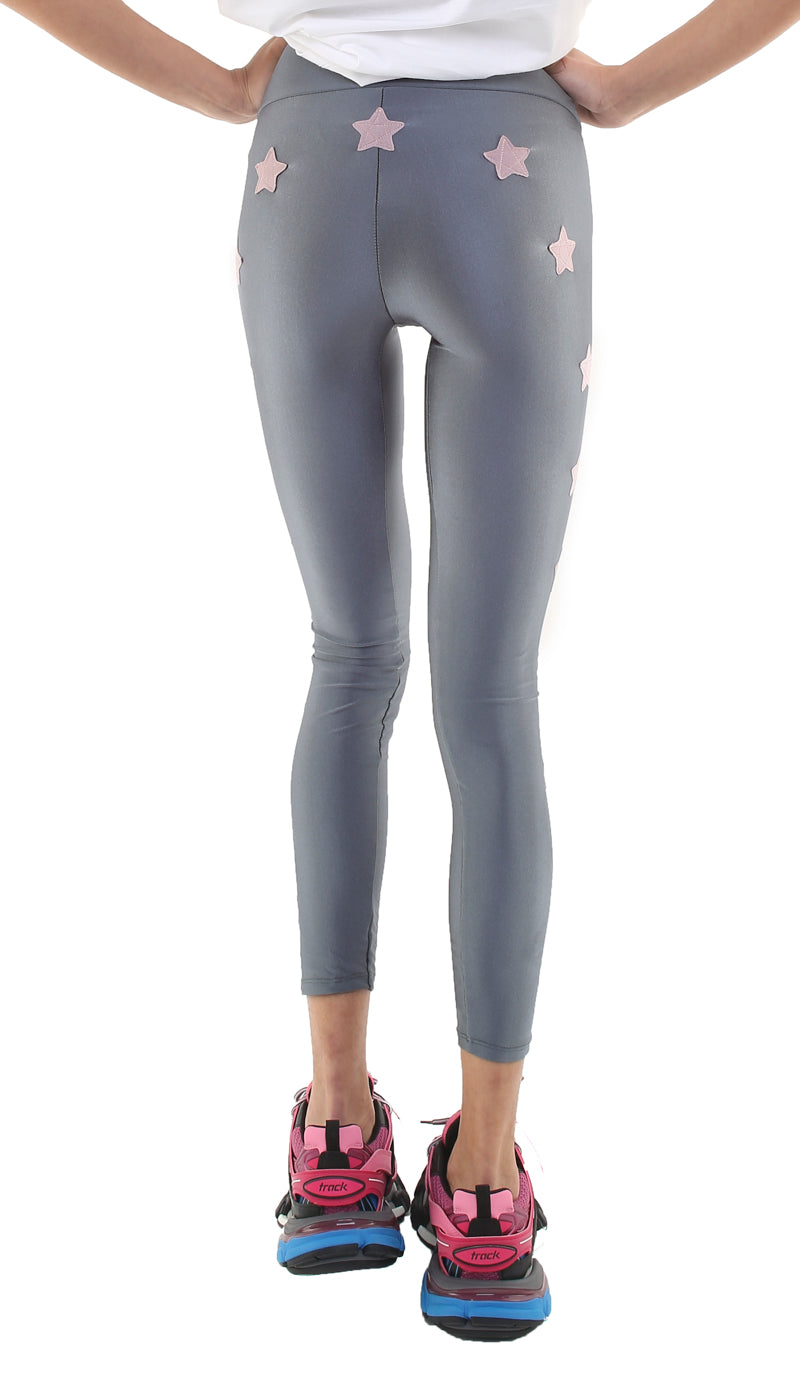 Leggings in lycra grigi con stelle applicate rosa cenere