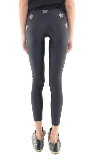 Leggings in lycra neri con stelle applicate grigio magnete