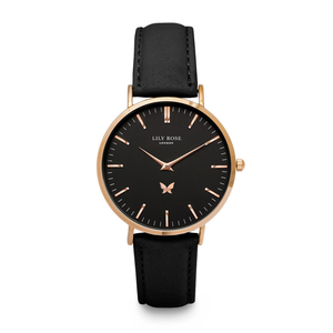 Notting Hill - Black face, Black Leather strap