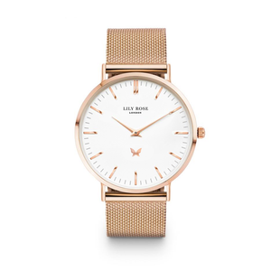 Rose gold white face metal strap Lily Rose London ladies watch