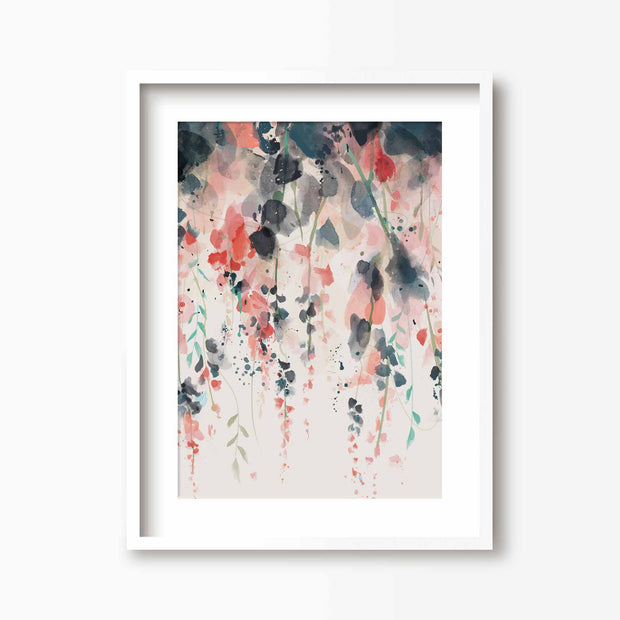 Hanging Flowers - Floral Art Print - Green Lili