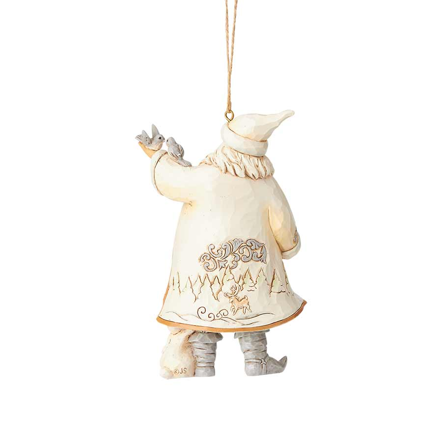 White Woodland Santa with Bird