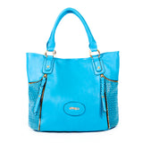 Blue Handbag with Laser-cut Detail - OH-5017 BLUE - All Bags Online