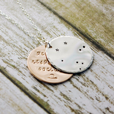 Leo zodiac constellation necklace with traits in sterling silver and gold