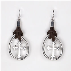 Brown Leather Wrapped Cross Earrings