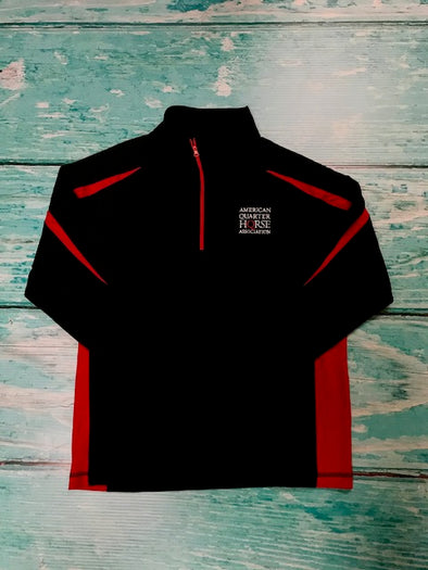 AQHA Stacked logo Black & True Red 1/4 zip