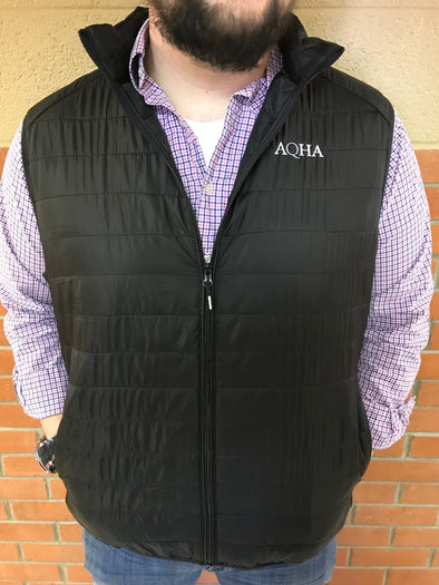 AQHA Men's Black Packable Puff Vest