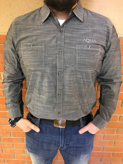AQHA Mens Grey Wash Button down