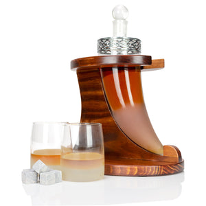 "Atterstone Viking Horn Whiskey Decanter 4 Piece Bar Set, Includes a 9.66"" x 3.73"" Viking Horn Decanter, 2 Glasses, and Wooden Stand Base"