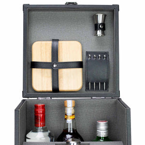 Premium 17-Piece Portable Barware Set with Travel Cocktail Bar Box