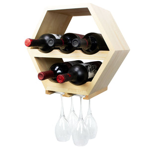 Honeycomb Wine Rack with Hanging Stemware Slots: Holds 5 Bottles and 4 Glasses