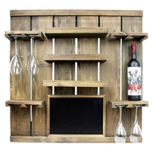 Chalkboard Wine Rack Shelf with Stemware Slots: Holds 8 Glasses
