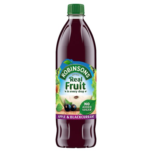 Robinsons Apple & Blackcurrant Cordial Squash No Added Sugar 1Ltr